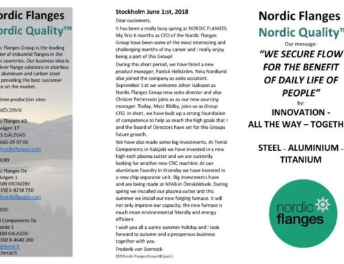 Nordic Flanges Group Newsletter 2018-06-01